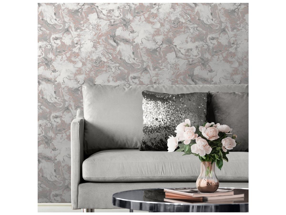 Muriva Elixir Metallic Marble Wallpaper 106502 Rose Gold