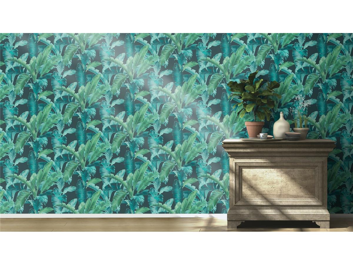 Rasch Barbara Home Collection Banana Palm Wallpaper 536690 Green//Navy