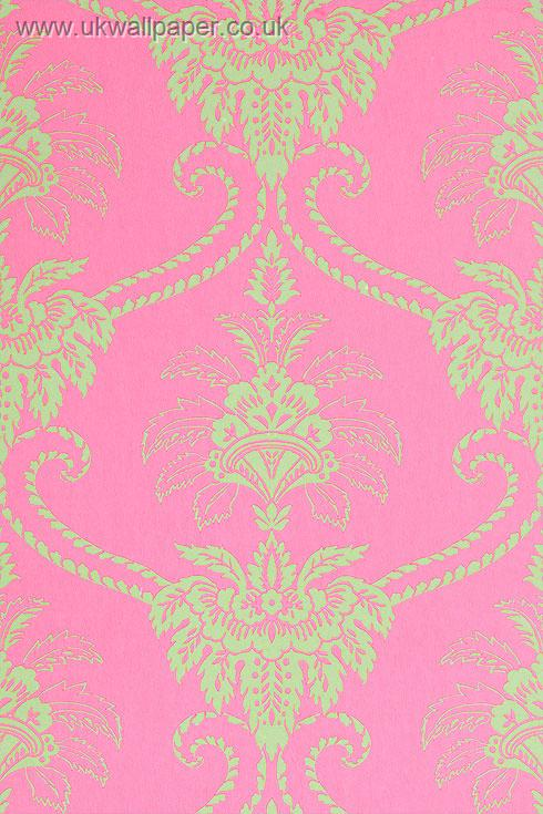 Anna French Wild Flora Damask Wallpaper Pink Green