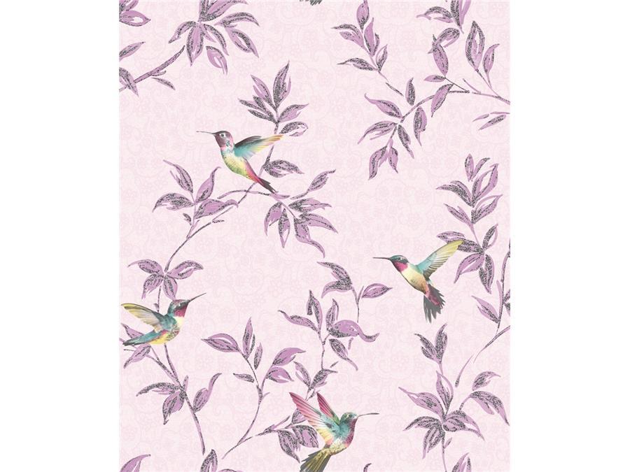 Sparkle Hummingbird Glitter Wallpaper FD41925 Pink Lilac