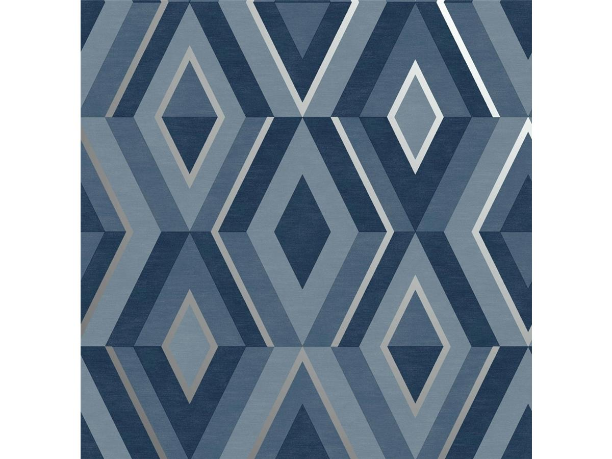 Geometric Diamond Metallic Fine Decor Shard Geo Stone Silver Wallpaper FD42606