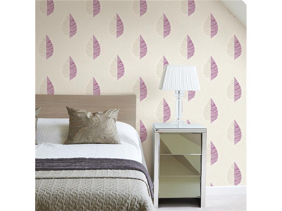 Crown Scandi Leaf Wallpaper M1257 Plum