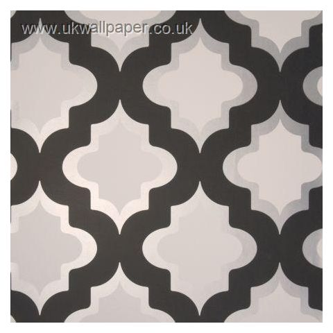 Clarke and Clarke Couture Wallpaper Kasbah Black and White