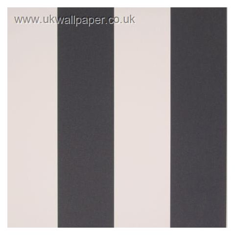 Clarke and Clarke Couture Wallpaper Bravo Stripe Black and White