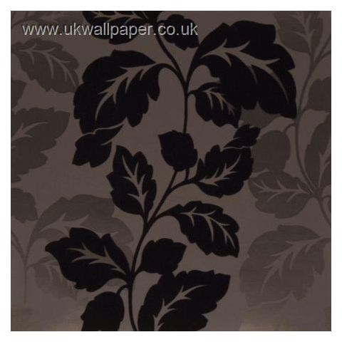 Clarke and Clarke Couture Wallpaper Ornella Flock Charcoal