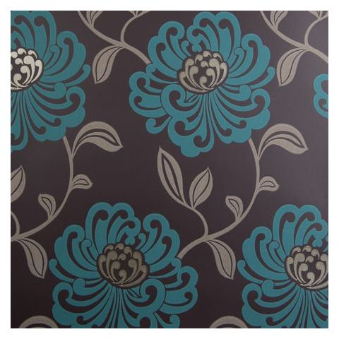 Clarke and Clarke Viva Wallpaper-Fiori Floral W0012/06 Teal