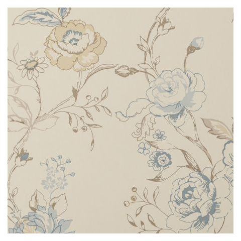 Clarke and Clarke Clarisse Wallpaper-Clarisse Floral W0026/05 Wedgewood