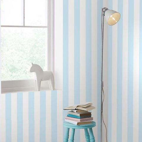 Graham and Brown Super Stripe Wallpaper Pastel Blue 100097
