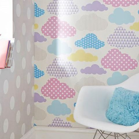 Graham and Brown Marshmellow Clouds Wallpaper Brights 100113