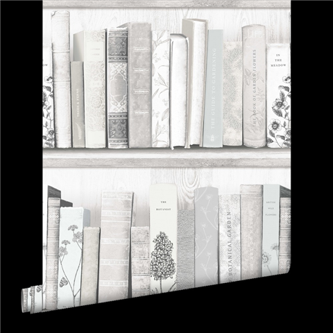 Fresco Botany Library Wallpaper White and Grey 103837