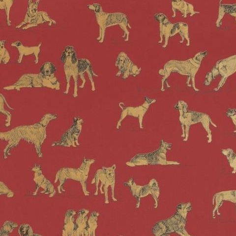 Thibaut Menswear Resource Best Friend Wallpaper T1041 Red and Gold