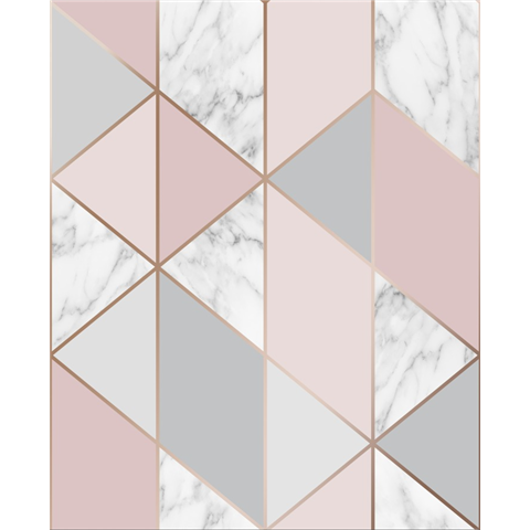 Graham and Brown Fresca Wallpaper marble geo 106503 pink
