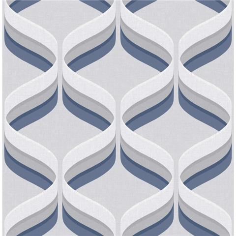 Graham and Brown Fresca Wallpaper Retro ogee 107744 navy