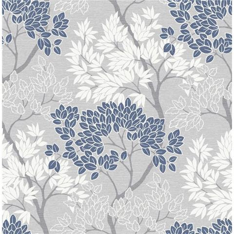 Graham and Brown Fresca Wallpaper lykke tree 107973 navy