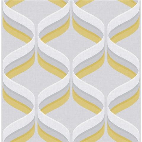 Graham and Brown Fresca Wallpaper Retro ogee 107978 ochre