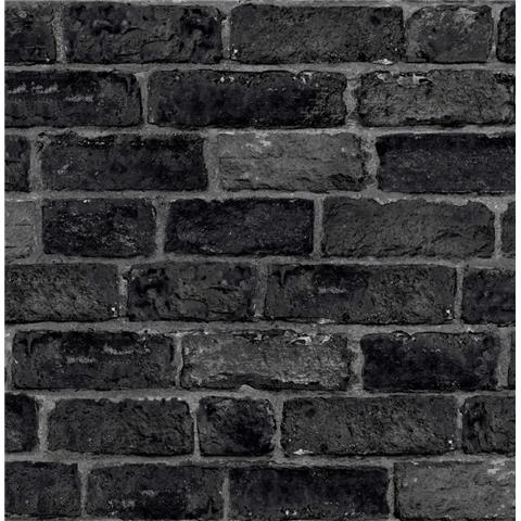 GRAHAM AND BROWN brick WALLPAPER charcoal 107980