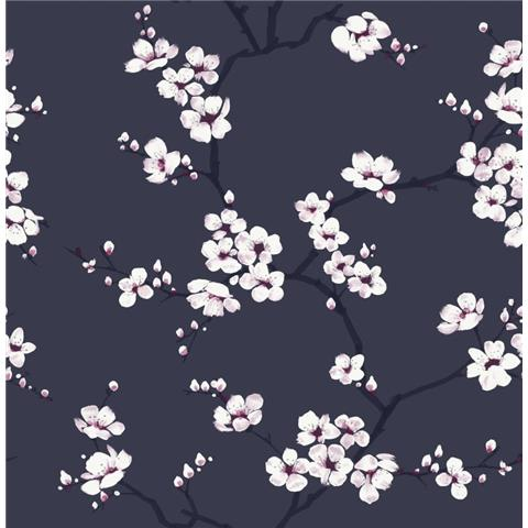 Graham and Brown Fresca Wallpaper Apple Blossom 108118 navy