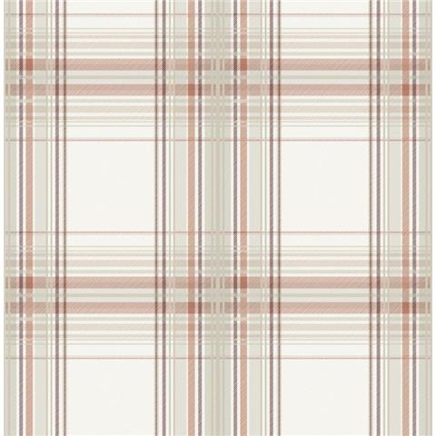 Graham and Brown Fresca Wallpaper iona check 108288 burnt orange