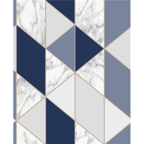 Graham and Brown Fresca Wallpaper marble geo 108295 navy