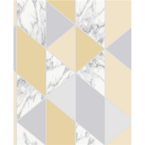 Graham and Brown Fresca Wallpaper marble geo 108296 yellow