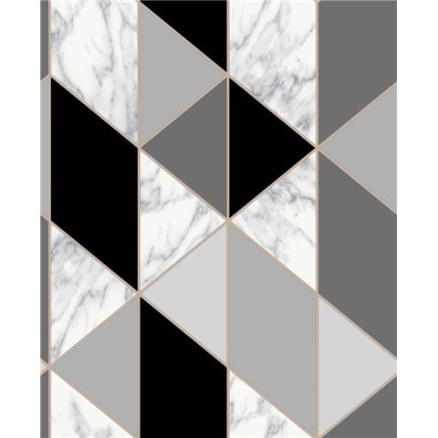 Graham and Brown Fresca Wallpaper marble geo 108297 charcoal