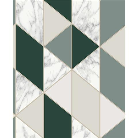 Graham and Brown Fresca Wallpaper marble geo 108298 dark green