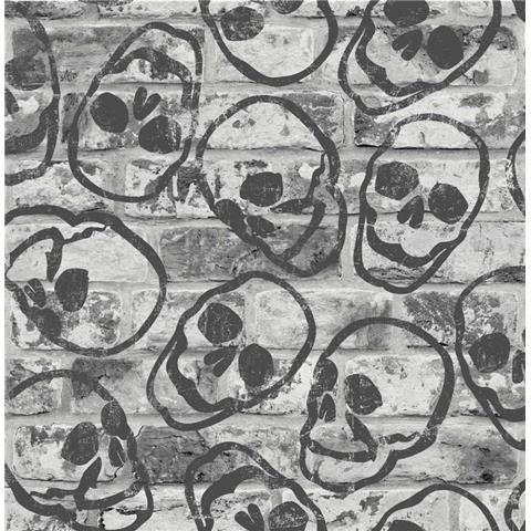 GRAHAM AND BROWN skull WALLPAPER 108595 grey