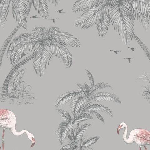 Statement Flamingo Lake Wallpaper Grey Coral 12381