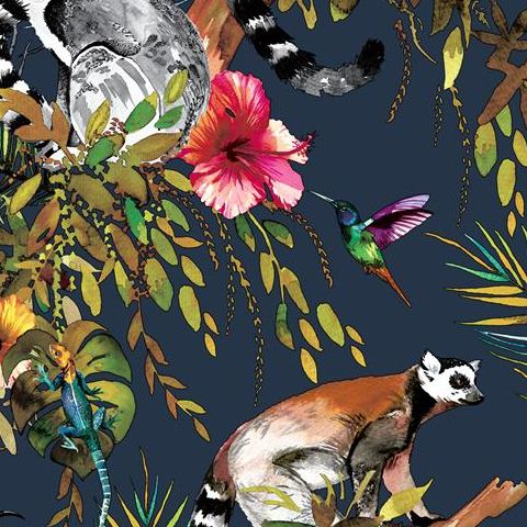 Holden Statement Feature Wallpapers Lemur 12403 Midnight Blue