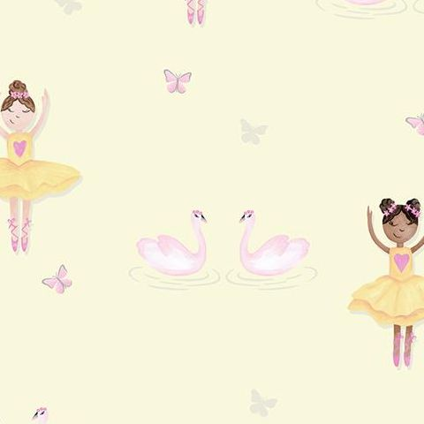Make Believe Wallpaper-Ballerina 12462 Yellow
