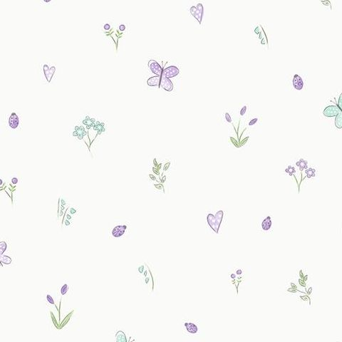 Make Believe Wallpaper-Butterfly Garden 12471 Cream/Heather