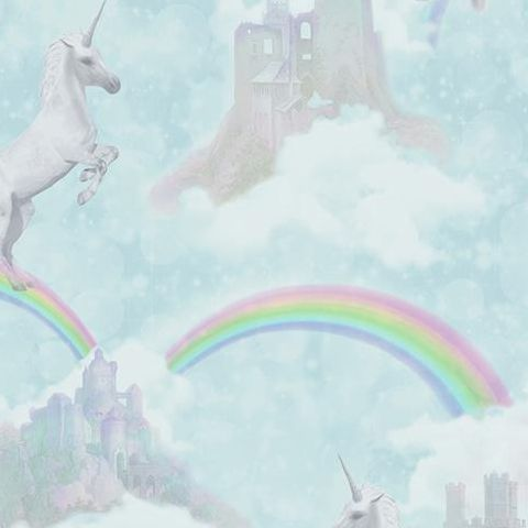 Make Believe Wallpaper-I Believe in Unicorns 12481 Soft Teal
