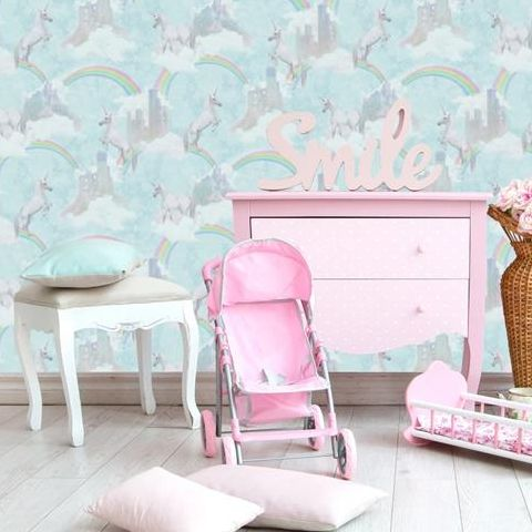Holden Decor Make Believe Wallpaper-I Believe in Unicorns 12481 Soft Teal