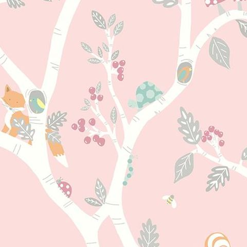 Make Believe Wallpaper- Woodland Adventure 12492 Dusky Pink