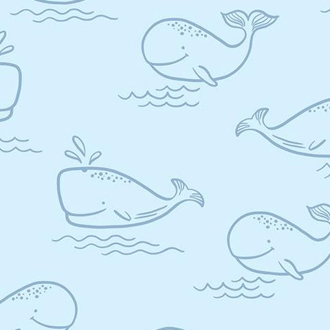 Make Believe Wallpaper- Whale of a Time 12520 Blue