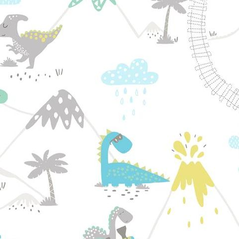 Make Believe Wallpaper- Dino Time 12531 Teal