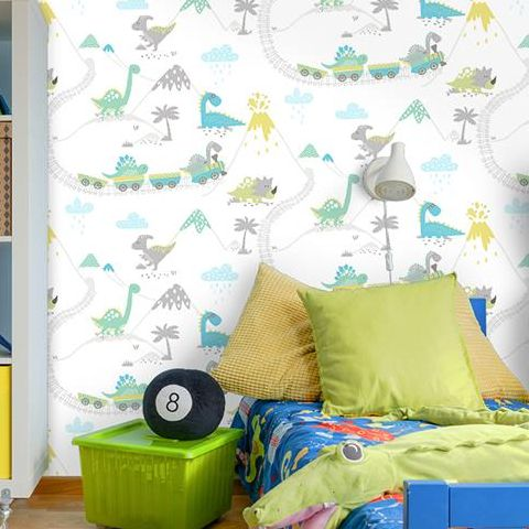 Holden Decor Make Believe Wallpaper- Dino Time 12531 Teal