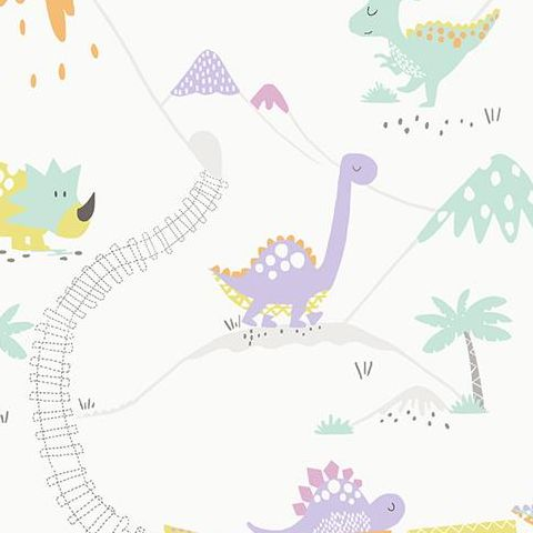 Make Believe Wallpaper- Dino Time 12532 Heather