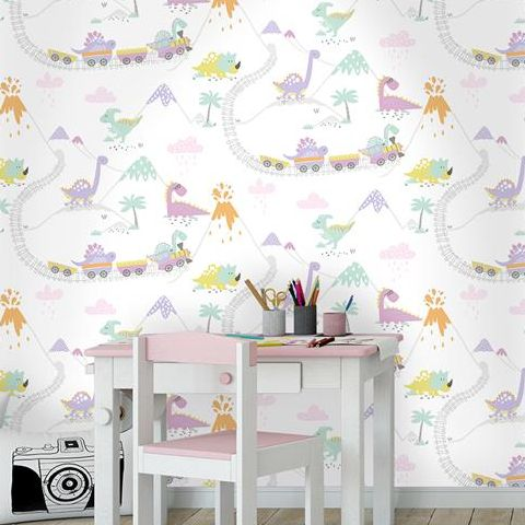 Holden Decor Make Believe Wallpaper- Dino Time 12532 Heather