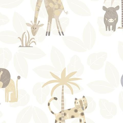 Make Believe Wallpaper- Jungle Friends 12540 Neutral
