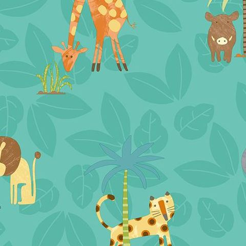 Make Believe Wallpaper- Jungle Friends 12542 Teal