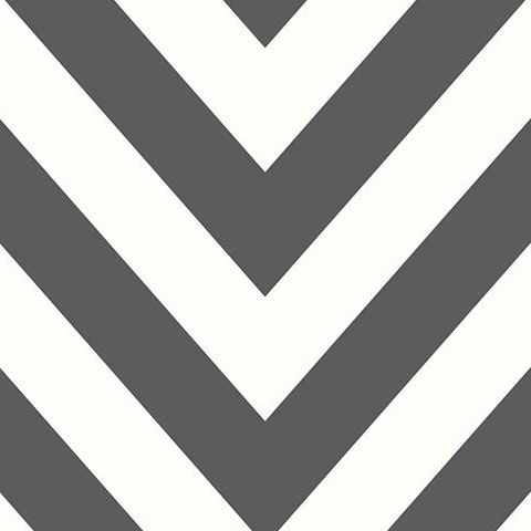 Make Believe Wallpaper- Chevron 12574 Black/White