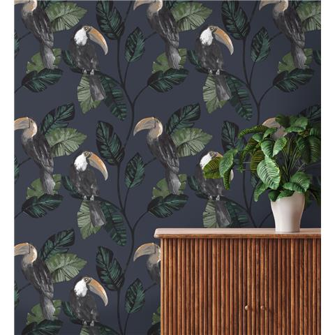 Holden Statement Toucan Trail Wallpaper 13023 Navy