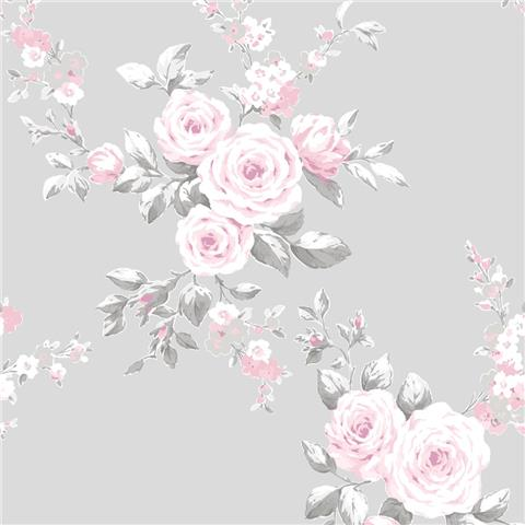 Catherine Lansfield Canterbury Shabby Chic Floral Wallpaper 165503