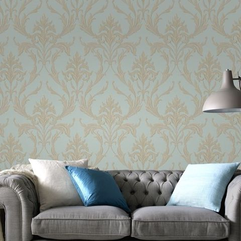 Graham and Brown Vinyl Wallpaper Oxford 20-851 Teal/Gold