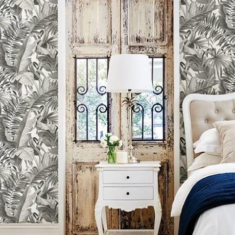Alfresco Tropical Palm Wallpaper 2744-24134 Charcoal