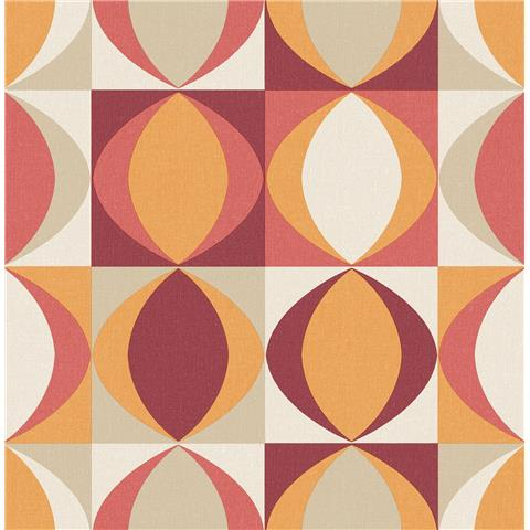 A Street Prints Archer Retro style wallpaper FD25842 red/orange