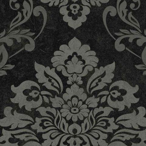 Arthouse Vintage Palazzo Damask and Stripe Heavyweight Vinyl Wallpaper 290400 Black /Silver