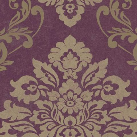 Arthouse Vintage Palazzo Damask and Stripe Heavyweight Vinyl Wallpaper 290401 Mulberry