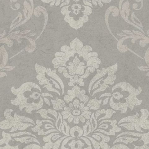Arthouse Vintage Palazzo Damask and Stripe Heavyweight Vinyl Wallpaper 290402 Pebble